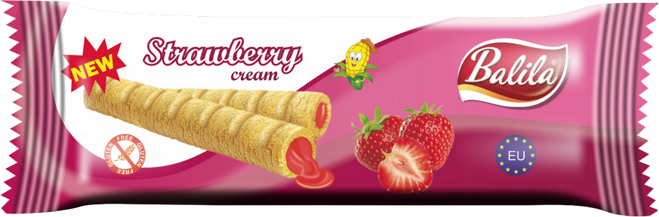 Balila Gluten Free Corn Tube - Strawberry Cream (box of 8)